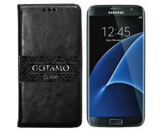 Gotamo D-gravity natūralios odos dėklas Samsung Galaxy S7 mobiliesiems telefonams juodos spalvos