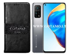 Gotamo D-gravity natūralios odos dėklas Xiaomi Mi 10T, Xiaomi Mi 10T Pro mobiliesiems telefonams juodos spalvos