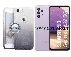 iLLuminaTe silikoninis dėklas nugarėlė Samsung Galaxy A32 5G telefonams sidabro spalvos