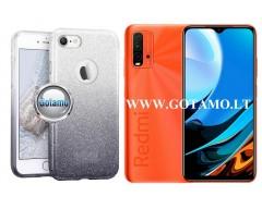 iLLuminaTe silikoninis dėklas nugarėlė Xiaomi Redmi 9T, Xiaomi Poco M3 telefonams sidabro spalvos