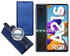 Re-Grid magnetinis dėklas Samsung Galaxy A21s mobiliesiems telefonams mėlynos spalvos