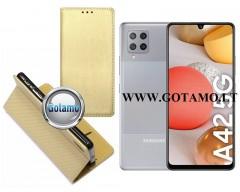 Re-Grid magnetinis dėklas Samsung Galaxy A42 5G mobiliesiems telefonams aukso spalvos