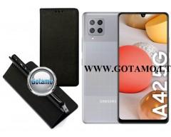 Re-Grid magnetinis dėklas Samsung Galaxy A42 5G mobiliesiems telefonams juodos spalvos