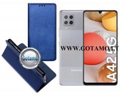 Re-Grid magnetinis dėklas Samsung Galaxy A42 5G mobiliesiems telefonams mėlynos spalvos