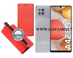 Re-Grid magnetinis dėklas Samsung Galaxy A42 5G mobiliesiems telefonams raudonos spalvos