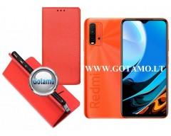 Re-Grid magnetinis dėklas Xiaomi Redmi 9T, Xiaomi Poco M3 mobiliesiems telefonams raudonos spalvos