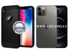 Siege dėklas nugarėlė Apple iPhone 12, Apple iPhone 12 Pro mobiliesiems telefonams juodos spalvos