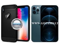 Siege dėklas nugarėlė Apple iPhone 12 Pro Max mobiliesiems telefonams juodos spalvos