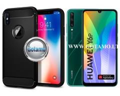 Siege dėklas nugarėlė Huawei Y6p mobiliesiems telefonams juodos spalvos
