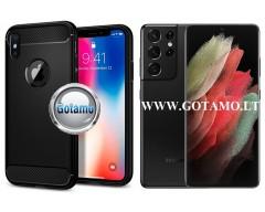 Siege dėklas nugarėlė Samsung Galaxy S21 Ultra 5G mobiliesiems telefonams juodos spalvos