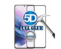 Apsauga ekranui gaubtas grūdintas stiklas Samsung Galaxy S21 mobiliesiems telefonams juodos spalvos 5D pilnas padengimas klijais