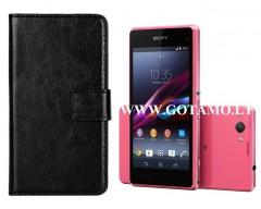 Diary Mate dėklas Sony Xperia Z1 Compact Z1 mini mobiliesiems telefonams juodos spalvos