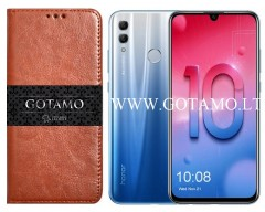 Gotamo D-Gravity natūralios odos dėklas Huawei Honor 10 Lite mobiliesiems telefonams rudos spalvos