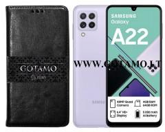Gotamo D-gravity natūralios odos dėklas Samsung Galaxy A22 mobiliesiems telefonams juodos spalvos