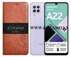 Gotamo D-gravity natūralios odos dėklas Samsung Galaxy A22 mobiliesiems telefonams rudos spalvos