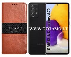 Gotamo D-Gravity natūralios odos dėklas Samsung Galaxy A72 mobiliesiems telefonams rudos spalvos