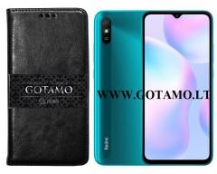 Gotamo D-gravity natūralios odos dėklas Xiaomi Redmi 9A mobiliesiems telefonams juodos spalvos