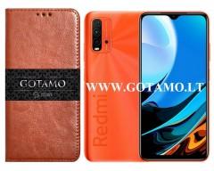 Gotamo D-gravity natūralios odos dėklas Xiaomi Redmi 9T, Xiaomi Poco M3 mobiliesiems telefonams rudos spalvos