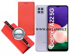 Re-Grid magnetinis dėklas Samsung Galaxy A22 5G telefonams raudonos spalvos