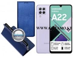 Re-Grid magnetinis dėklas Samsung Galaxy A22 telefonams mėlynos spalvos