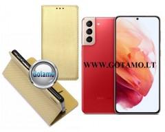 Re-Grid magnetinis dėklas Samsung Galaxy S21+ 5G mobiliesiems telefonams aukso spalvos