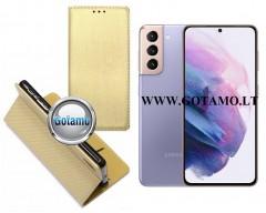Re-Grid magnetinis dėklas Samsung Galaxy S21 mobiliesiems telefonams aukso spalvos