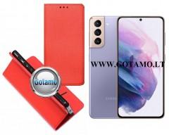 Re-Grid magnetinis dėklas Samsung Galaxy S21 mobiliesiems telefonams raudonos spalvos