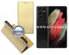 Re-Grid magnetinis dėklas Samsung Galaxy S21 Ultra 5G mobiliesiems telefonams aukso spalvos