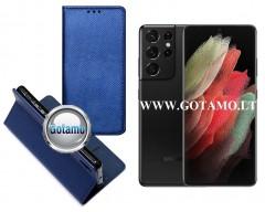 Re-Grid magnetinis dėklas Samsung Galaxy S21 Ultra 5G mobiliesiems telefonams mėlynos spalvos