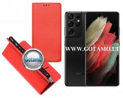 Re-Grid magnetinis dėklas Samsung Galaxy S21 Ultra 5G mobiliesiems telefonams raudonos spalvos