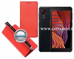Re-Grid magnetinis dėklas Samsung Galaxy Xcover 5 mobiliesiems telefonams raudonos spalvos