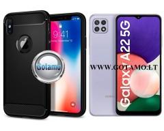 Siege dėklas nugarėlė Samsung Galaxy A22 5G mobiliesiems telefonams juodos spalvos