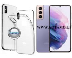 Skin silikoninis dėklas 2MM storio Samsung Galaxy S21 telefonams