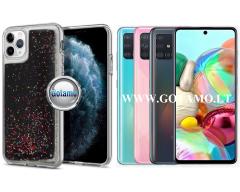 Waterfall2 dėklas nugarėlė Samsung Galaxy A71 telefonams juodos su blizgučiais spalvos