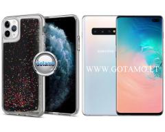 Waterfall2 dėklas nugarėlė Samsung Galaxy S10+ telefonams juodos su blizgučiais spalvos
