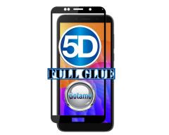 Apsauga ekranui gaubtas grūdintas stiklas Huawei Y5p mobiliesiems telefonams juodos spalvos 5D pilnas padengimas klijais