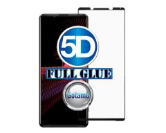 Apsauga ekranui gaubtas grūdintas stiklas Sony Xperia 1 III mobiliesiems telefonams juodos spalvos 5D pilnas padengimas klijais