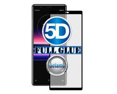 Apsauga ekranui gaubtas grūdintas stiklas Sony Xperia 5 mobiliesiems telefonams juodos spalvos 5D pilnas padengimas klijais
