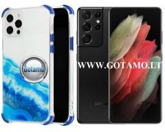 ColorWave dėklas nugarėlė Samsung Galaxy S21 Ultra telefonams žydros spalvos