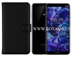 Diary Mate dėklas Nokia 5.1 Plus mobiliesiems telefonams juodos spalvos