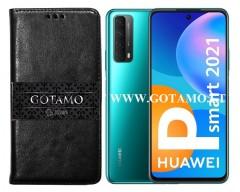 Gotamo D-Gravity natūralios odos dėklas Huawei P Smart 2021 mobiliesiems telefonams juodos spalvos