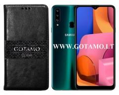 Gotamo D-gravity natūralios odos dėklas Samsung Galaxy A20s mobiliesiems telefonams juodos spalvos