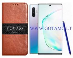 Gotamo D-gravity natūralios odos dėklas Samsung Galaxy Note 10+ mobiliesiems telefonams rudos spalvos