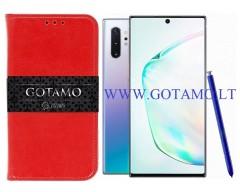 Gotamo D-gravity natūralios odos dėklas Samsung Galaxy Note 10+ mobiliesiems telefonams raudonos spalvos