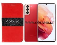 Gotamo D-Gravity natūralios odos dėklas Samsung Galaxy S21+ 5G mobiliesiems telefonams raudonos spalvos