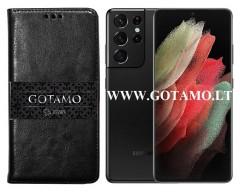 Gotamo D-gravity natūralios odos dėklas Samsung Galaxy S21 Ultra 5G mobiliesiems telefonams juodos spalvos