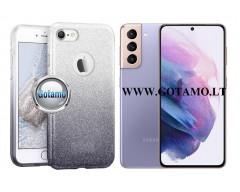iLLuminaTe silikoninis dėklas nugarėlė Samsung Galaxy S21 telefonams sidabro spalvos