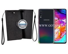 Manager dėklas Samsung Galaxy A70 mobiliesiems telefonams juodos spalvos