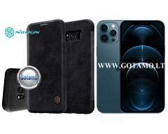 Nillkin Qin odinis dėklas Apple iPhone 12 Pro Max telefonui juodos spalvos
