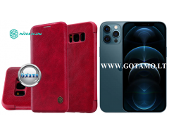 Nillkin Qin odinis dėklas Apple iPhone 12 Pro Max telefonui raudonos spalvos